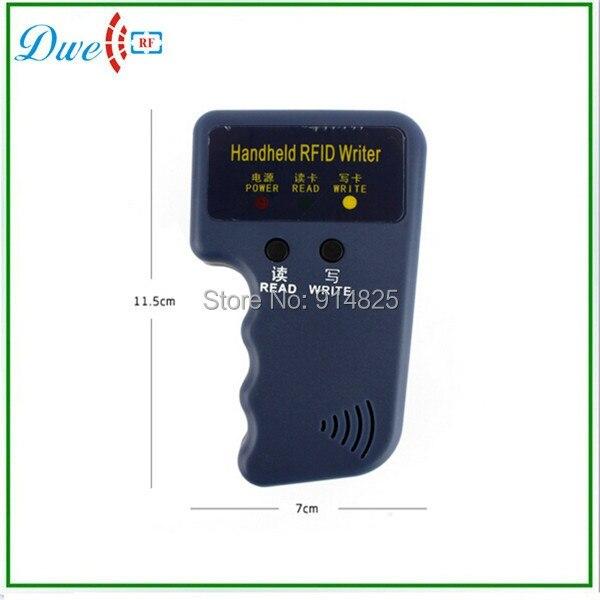 DWE CC RF Free shipping  handheld 125khz EM4100  RFID card reader writer duplicator card copier with 5  cards free of charge