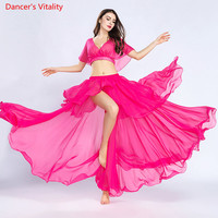 2018 New Solid color Women V neck Top+Skirt 2 pcs Belly Dance Practice Wearing a sexy Team Suit for Dancing Long Skirt