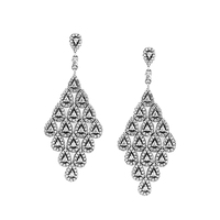 100% 925 Sterling Silver Jewelry Drop Earrings for Women Cascading Glamour Large Hanging Earrings with Clear CZ FANDOLA Jewelry