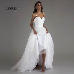 Лори Спагетти ремень пляжные свадебные платья 2019 Vestido Noiva Praia простой белый тюль Casamento свадебное платье с поясом индивидуальный заказ