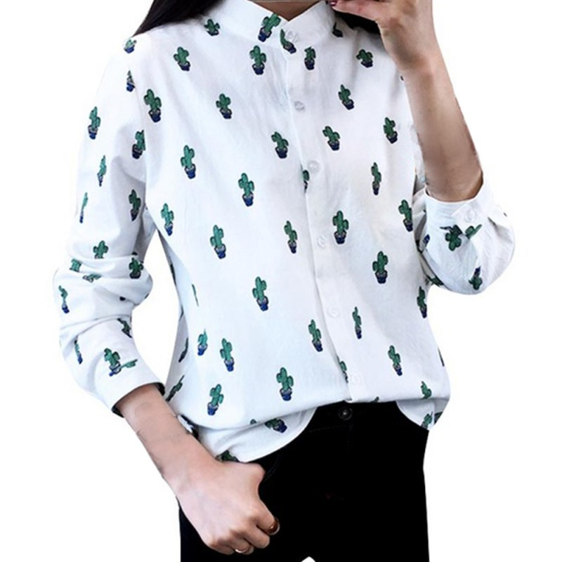 Girls Women Casual Long Sleeve T-Shirts Sweet Cute Cactus Printed Mandarin Collar Tops White