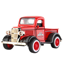 ChildrenS Q Version Of Alloy Toys 1:36 Pull Back Car Model Retro Classic With Sound And Light Music Mu