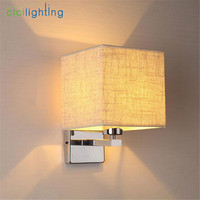 Modern wall lamp led bedside lamp bedroom hotel stair wall sconces lighting Stainless Steel black white Fabric lampshade fixture