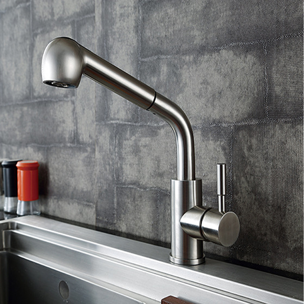 Solid Stainless Steel Pull Out Sprayer Kitchen Bar Sink Faucet