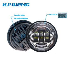 Image 4 - Motorcycle Accessories Black  led Moto Fog Lamp 4 1/2 Inch Round Headlamp for Harley  Chrome Auxiliary Lights