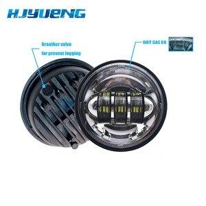 Image 4 - Motorrad Zubehör Schwarz led Moto Nebel Lampe 4 1/2 Zoll Runde Scheinwerfer für Harley Chrome Hilfs Lichter