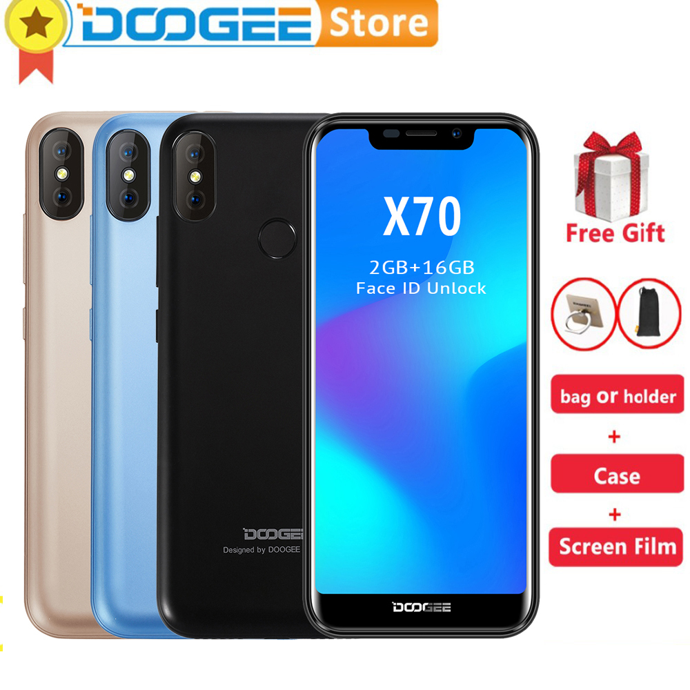 Doogee X70 5.5 inch 19:9 Android 8.1 Smartphone 4000mAh Battery 3G WCDMA 2GB 16GB Face Unlock Fingerprint ID 8.0MP Cell Phone smartphone