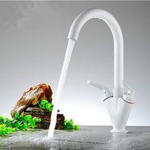 Двойной ручкой белой краской whitefaucet медь кухонный кран горячей и холодной Латунь белый cramefaucet