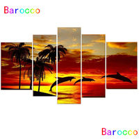 100% Hand Painted Oil Painting (no Framed) On canvas Sunrise Beach Dolphins Wall Art Pictures Animal Paintings 5 Pcs/Lot