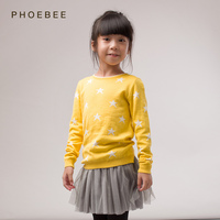 Brand Phoebee Kids Pink Yellow Sweaters Children Pullovers Stockinette Stitch Fashion Stockinette Stitch No Hooded Baby