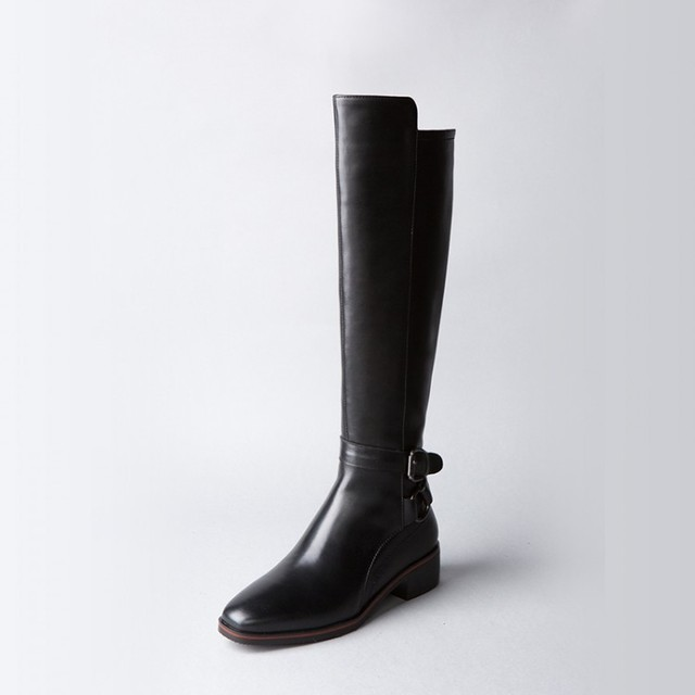 14777ad6267 Women New Square Toe Flat Army Low Heels Knee High Zip Boots Buckle Black Genuine  Leather Fashion Motorcycle Military Boots 2016