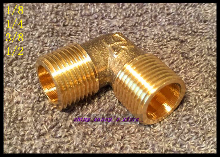 15Pcs/Lot  1/4 BSP Male Elbow Connection Pipe Brass Coupler Adapter 1 2 male inch bsp length 49 x 36 6mm wall thickness 3mm elbow connection thicken brass pipe adapter coupler connector 232psi