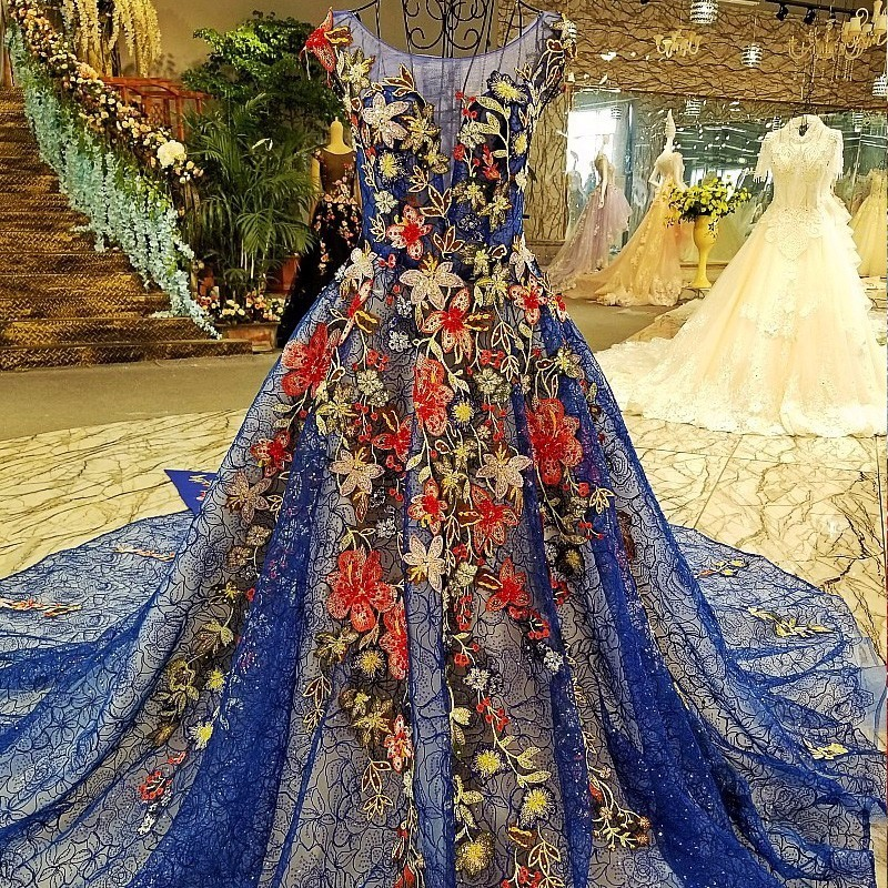 Lace flowers gowns luxury evening dresses real photos evening party prom dress vestidos de gala ball gown robe soiree