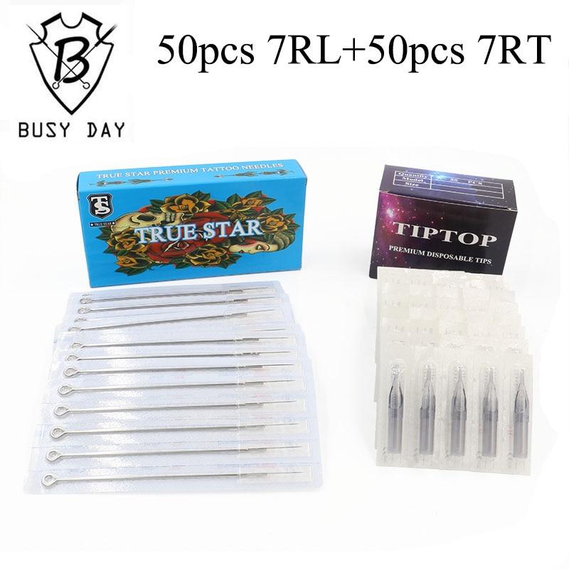 (7RL + 7RT) 50st True Star Tattoo Needles & 50st TIP TOP Tattoo Tips - Tatuering och kroppskonst - Foto 1