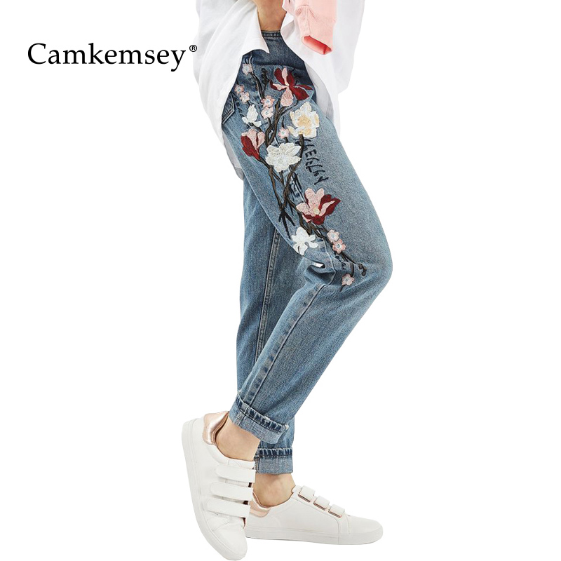 56e034f7970 CamKemsey Plus Size High Waist Jeans Woman Spring Autumn Vintage Flower  Embroidery Jeans Female Casual Mom