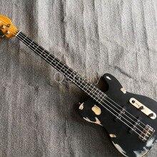 Высокое качество QShelly на заказ черный TL реликвия Винтаж старый используется 4 струны бас выцветший пепельный корпус из черного дерева гриф электрическая бас гитара