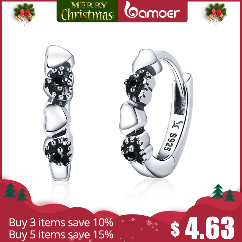 BAMOER Genuine 925 Sterling Silver Heart to Heart Hoop Earrings Silver for Women Sterling Silver Fine Jewelry Gift SCE445