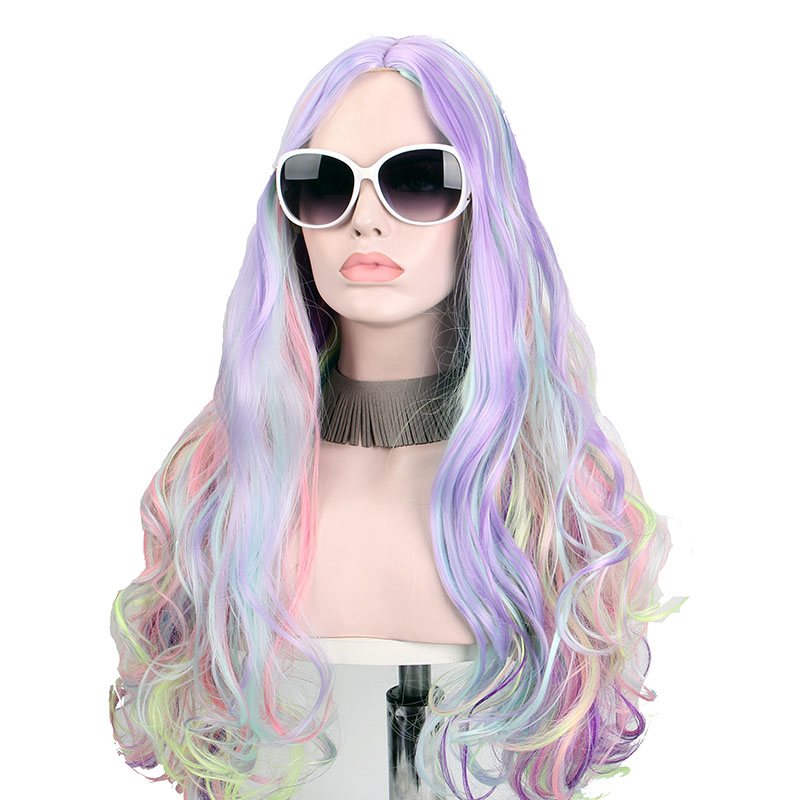 Long Wigs for Black Women Multicolored Cosplay Curly Synthetic Hair Part No Bangs Heat Resistant Mixed Color Anxin Cosplay Wigs