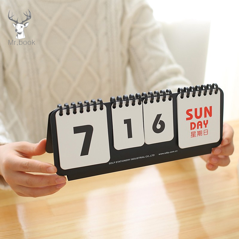 Creative Mini Coil Desktop Calendar DIY Page Turning Perpetual Calendar Office Supplies Agenda Organizer Daily Schedule Planner