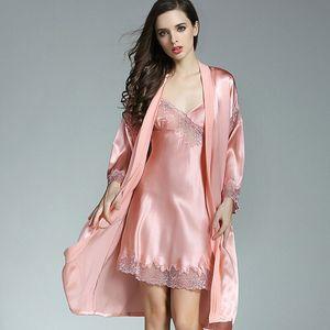 Image 3 - 2019 Yaz 100% Gerçek Ipek Bayan Bornoz Elbisesi Setleri Seksi Iki Parçalı Gecelik Kimono Elbiseler Dut Ipek Pijama kadınlar için