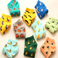 2017 New Cute fruit color love candy color cotton sock summer style women's socks women's thin sock slippers