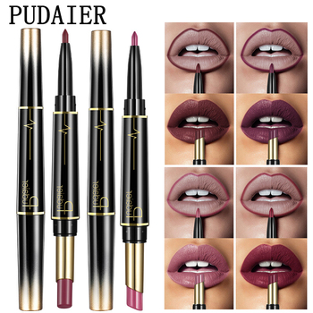 Pudaier Matte Lipstick Wateproof Double Ended Long Lasting Lipsticks Brand Lip Makeup Cosmetics Nude Dark Red Lips Liner Pencil 1