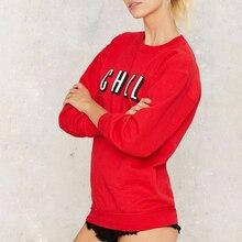 Women Long Sleeve Solid Red Crew Neck Sweatshirt