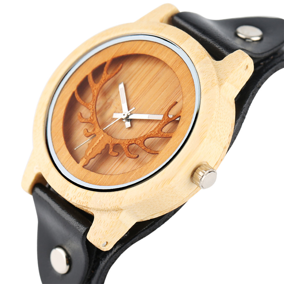 Steampunk Men Wooden Watch Skeleton Elk Head Carving Dial Black Punk Bracelet Creative Teenagers Wood Wristwatch Cool Gift Clock (3)