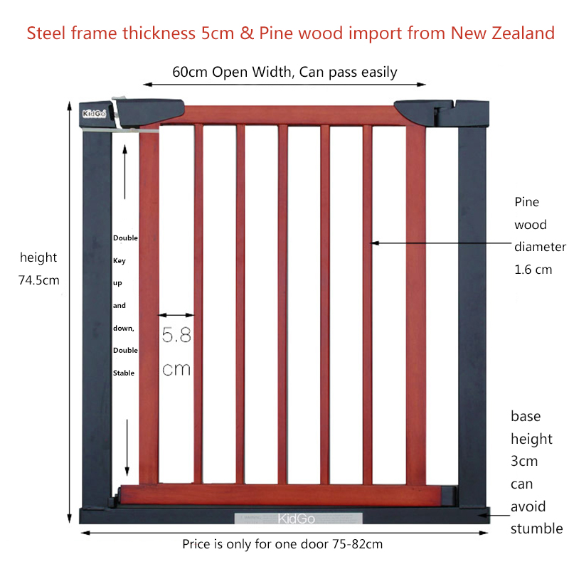 Hk free 3 colors solid wood gate pet baby safety gate