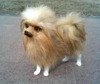 about 23x12x21cm Pomeranian dog furry fur dog model home decoration gift h1414