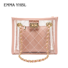 EMMA YHBL  Summer Transparent Jelly Bag Chain Tote Shoulder Ladies Clear Bag two Pcs Plastic Handbag Waterproof Women Beach Bag two tone spliced tote bag
