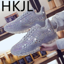 HKJL Water drill single shoe thick sole sneaker go together 2019 spring jelly web celebrity crystal father female A377
