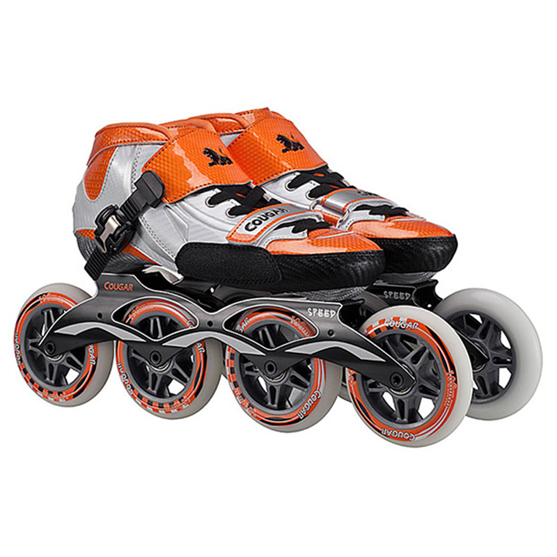 Original Cougar SR1 Speed Inline Skates Glass Fiber Professional Competition Skates 4 Wheels Racing Skating Shoes Patines Patins architecture in use