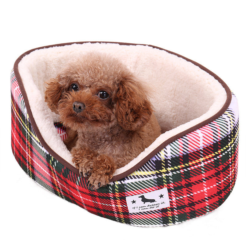 Warm Plaid Dog Bed