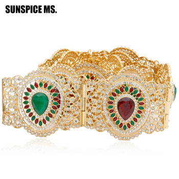 SUNSPICE-MS Gold Color Morocco Caftan Belt Broadside Big Resin Full Rhinestone Wedding Waist Chain Adjustable Length Wholesale