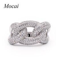 Mocai Luxus Coole Punk Chian Ring für Frauen 1,4 cm AAA Kubikzircon Silber Farbe Rock Ringe Schmuck für Party ZK30