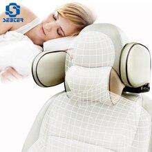Кожаная Автомобильная подушка SEBTER, подголовник для автомобиля, подголовник для шеи, безопасность сиденья, поддержка, подушка с памятью, хлопок, Регулируемый аксессуар для стайлинга автомобиля