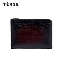 TERSE 2018 남자에 대 한 새로운 핸드백 진짜 가죽 주 클러치 대용량 패션 스타일 손 가방 사용자 지정 로고 9650
