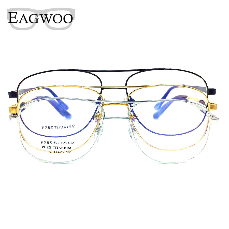 Titanium Eyeglasses Double Bridge Vintage Nerd Big Size Optical Frame Prescription Reading Spectacle For Wide Face Men Glasses