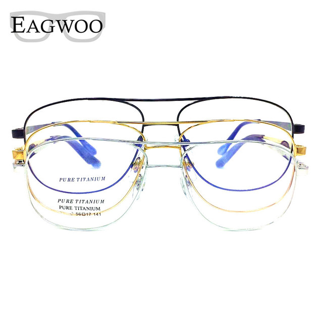 6241ff53a0 Titanium Eyeglasses Double Bridge Vintage Nerd Big Size Optical Frame  Prescription Reading Spectacle For Wide Face Men Glasses