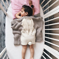 Baby Blankets Newborn Muslin Swaddle Blanket Handmade Woolen Blended Soft Rabbit Knitted Cartoon Towels throw blanket 100*80cm