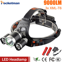 цена на USA EU Hot 3T6 headlamp 3x XM-L T6 LED Headlight 9000 Lumen Head Lamp Flashlight Torch Lanterna led Headlamp 90 degree night