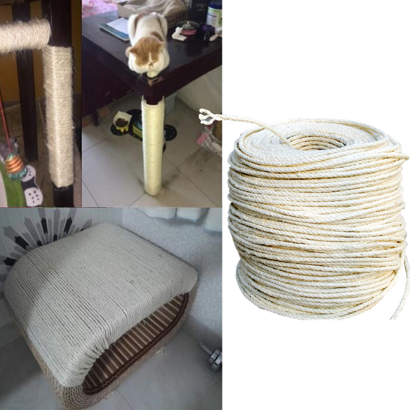 3M sisal rope for cats scratching post toys making DIY desk foot stool chair legs binding rope material for cat sharpen claw ...