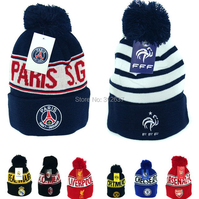 7ca38a3b84a newest 2016 AC Milan Borussia Dortmund France soccer fans cap  bvb winter  training hats for men woman psg Beanies