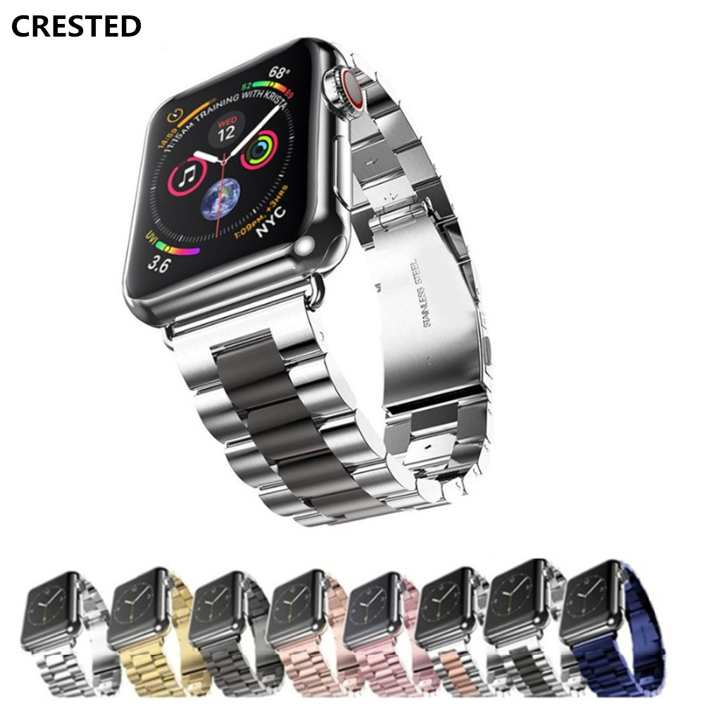 CRESTED Strap Für Apple Uhr band 4 42mm/38mm iwatch band 44mm/40mm Edelstahl stahl correa handgelenk link Armband uhr Zubehör