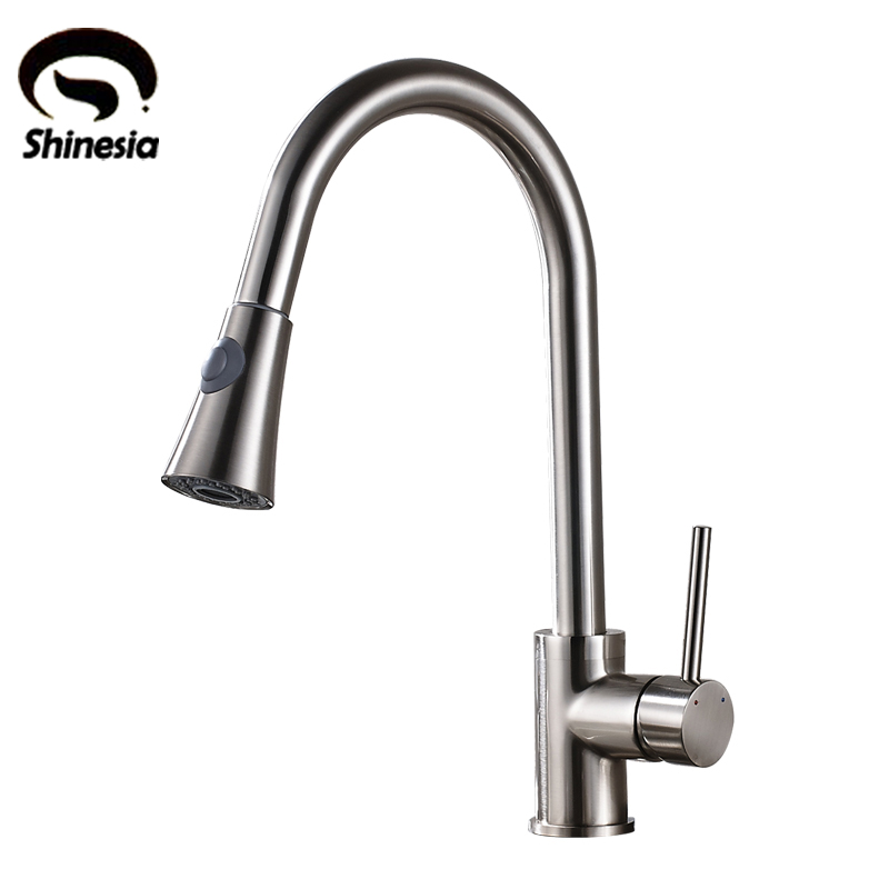 Nickel Brushed Kitchen Sink Faucet Single Handle Pull Down Swivel Spout Mixer Tap Deck Mount