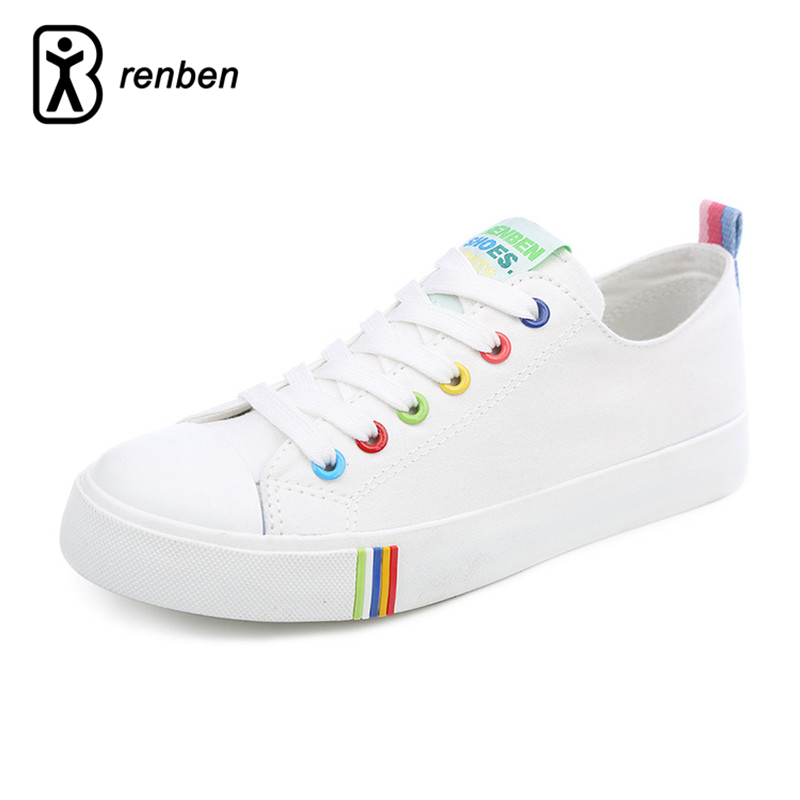 RenBen 2018 Canvas Flats Casual Shoes Women Fashion Breathable Walking Colorful Female Shoes Lace-up Ladies Shoes zapatos mujer 2017 patchwork lace up rubber sole canvas shoes breathable super leisure women casual shoes with flats student shoes rm 05