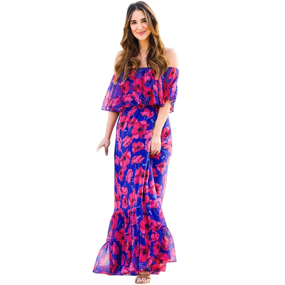 Feitong Womens New Fashion 2018 Ladies Boho Summer Beach Party Long Maxi Dress Sundress Sexy Off Shoulder Black print summer