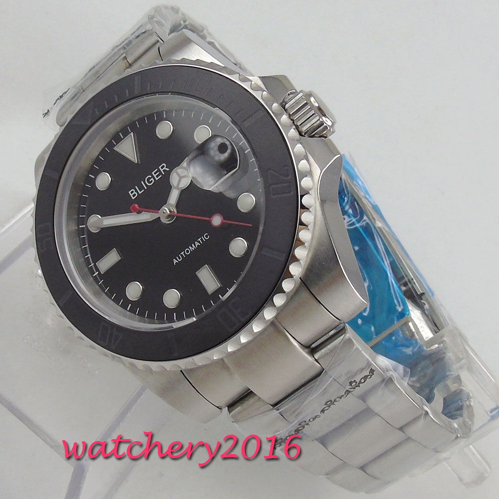 Здесь продается  40mm Bliger Black Dial Luxury Brand Date Luminous Sapphire Glass Rotating Bezel Steel Case miyota Automatic movement men