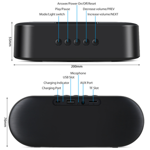 Image 5 - TOPROAD Portable Bluetooth 5.0 Speakers 10W Wireless Stereo Bass Hifi Speaker Support TF card AUX USB Handsfree with Flash LED